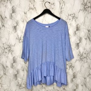 Anthropologie Akemi + Kin Cascade Peplum Top Blue